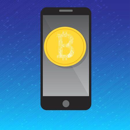 Mobiele telefoon bitcoin betalingsconcept Stockfoto