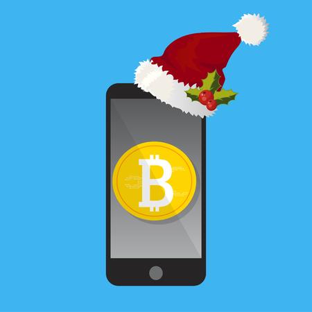 Het concept van de mobiele bitcoin Kerstmisbetaling Stockfoto