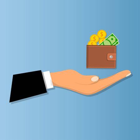 Portefeuille met geld en creditcard