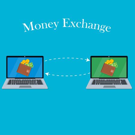 laptopscherm met portemonnee en geld
