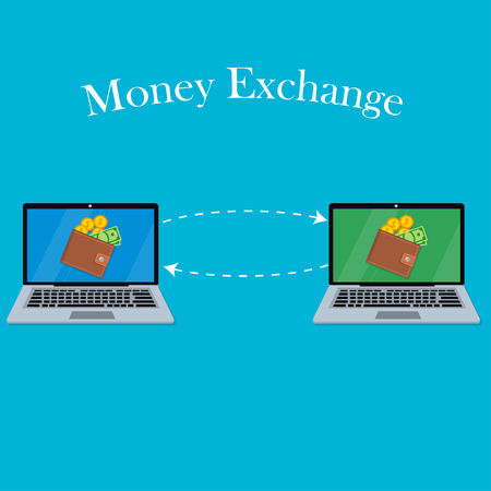 laptop screen with wallet and money Illustration