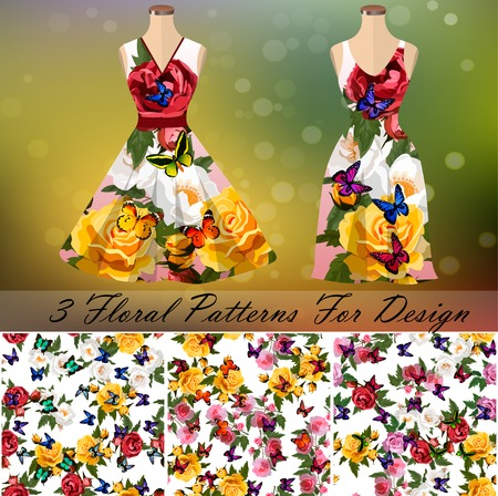 Dress with an trendy rose and butterflies design Иллюстрация