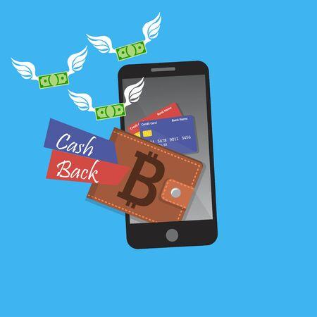 vector digitale bitcoin mobiele portemonnee