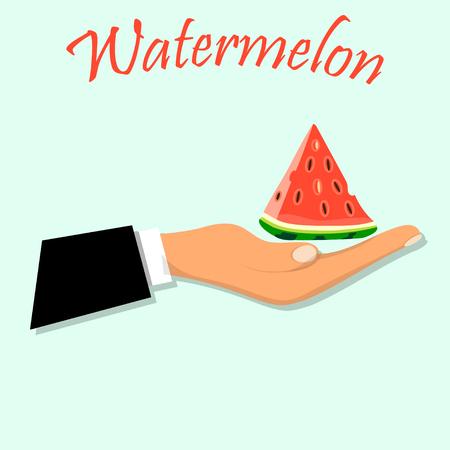Zoet, sappig stuk watermeloen Stock Illustratie