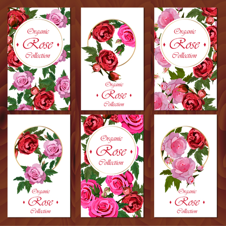 rose card on wooden background Иллюстрация
