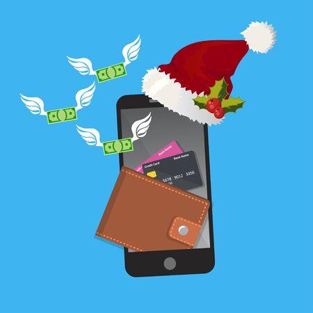 smartphonescherm met portefeuille en creditcards