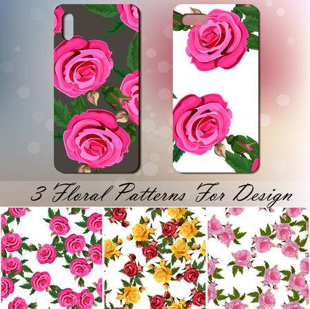 Telefoonhoes met rozen Stock Illustratie