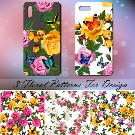 Telefoonhoes met rozen en vlinders