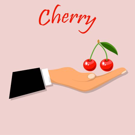 yummy cherry on hand Vettoriali
