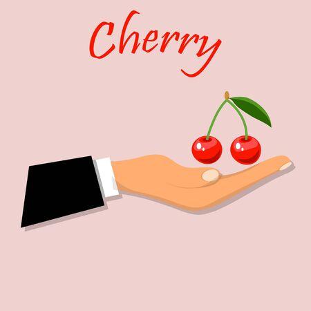 yummy cherry on hand Illustration