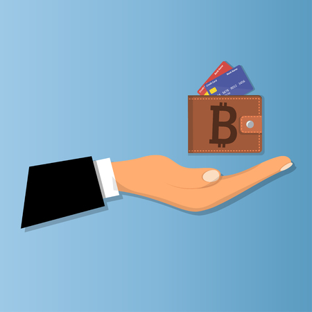 Mobile wallet with bitcoin cryptocurrency Illustration