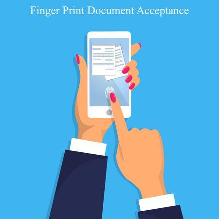 Finger print document acceptance