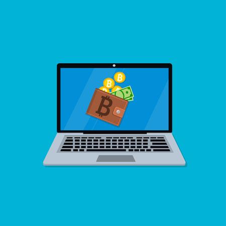 laptop scherm met portemonnee Stock Illustratie