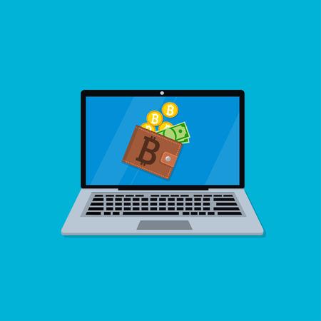 laptop screen with wallet Illustration