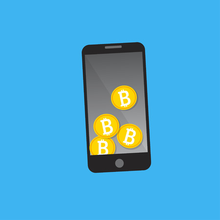 Mobile phone bitcoin payment concept