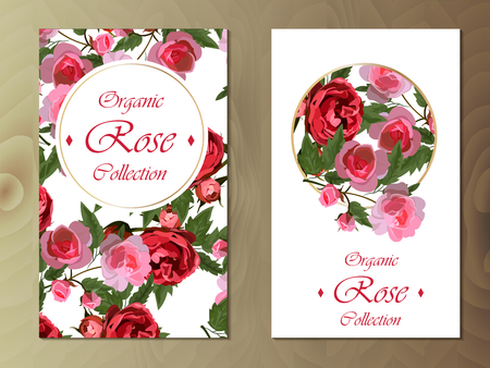 rose card on wooden background Stock Illustratie