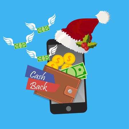 Holidays cashback in mobile app concept