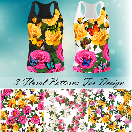 T-shirt with an trendy rose and butterfly design Vettoriali