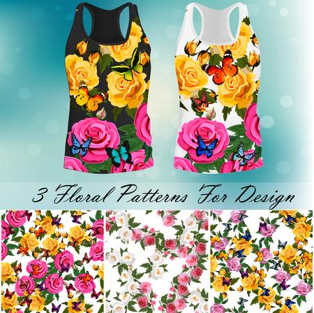 T-shirt met een trendy roos- en vlinderontwerp Stock Illustratie