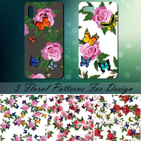 Smartphone met roos en vlinderspatroon op bokeh. Stockfoto