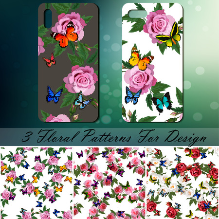 Smartphone with rose and butterflies pattern on bokeh.