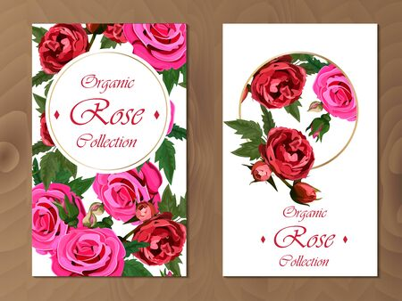 rose card on wooden background Archivio Fotografico