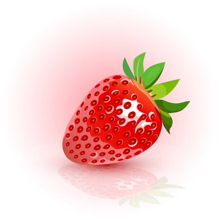 Red, ripe strawberries. Strawberry white background. Vector illustration.