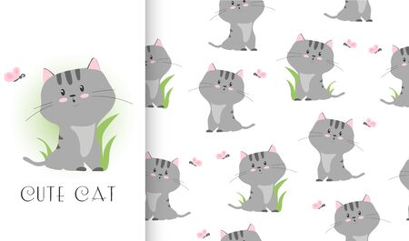 Cute cartoon grey cat with butterfly character. Card and seamless pattern set. Hand drawn textile design vector illustration. Illusztráció