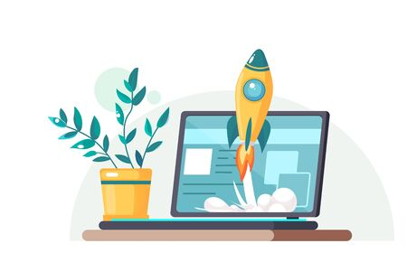 Start up. Concept for new business project, launching product or service with symbols. Laptop on the table with a flower pot. Vector illustration.
