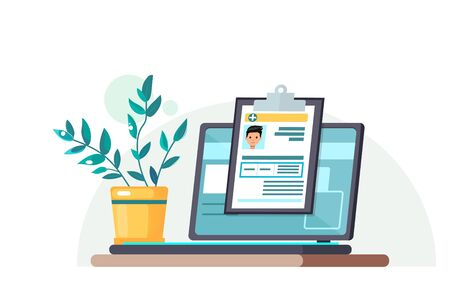 The laptop is on the table next to a potted plant. Medical card online. Doctor's consultations over the Internet. Medical data. Vector illustration.