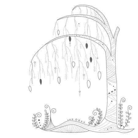 Fairy tree. Decorative element for the design. Decoration. Doodling, handmade. Vector line illustration