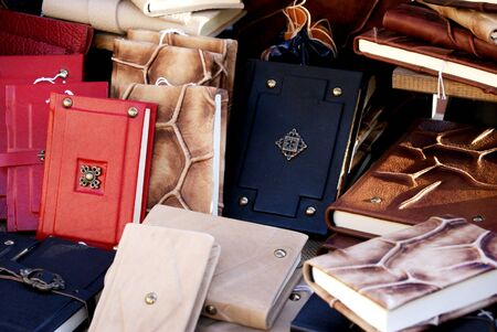 notebooks and books in leather