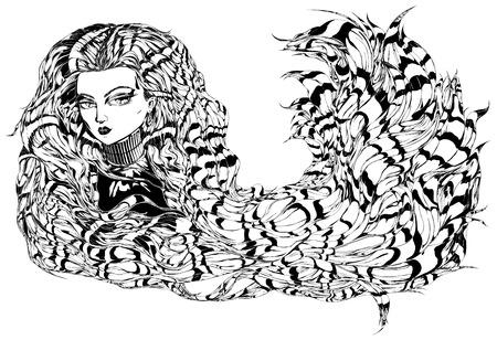 manga style: Manga style female character with wavy hair.