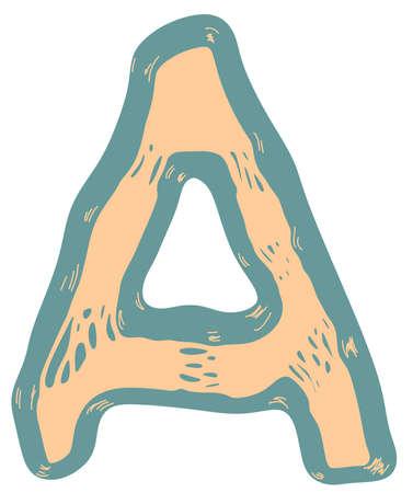 Stretched vector letter.Art font.