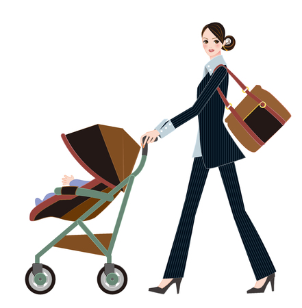 Mother to commute by pressing the Baby Carrier  Stock Photo