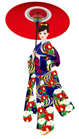 unmarried:  Kimono pattern of camellia  Japanese women  Full dress  Japanese umbrella