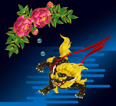 lion dog: Foo dog and peony  Legend of the Orient  Water droplets of peony is the medicine of foo dog   Illustration