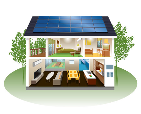 Home solar power Japanese style house Home with solar panels  photo