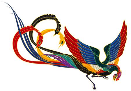 中国フェニックス鳥の架空オリエンタル龍和柄シザーバッグ 写真素材 - 29731849