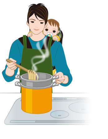 6 12 months: Father cook with a baby piggyback Stock Photo