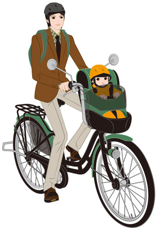 6 12 months: Parent and child riding a bicycle