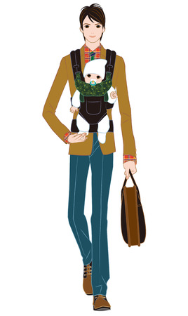 baby carrier: Father to commute with a sense of baby