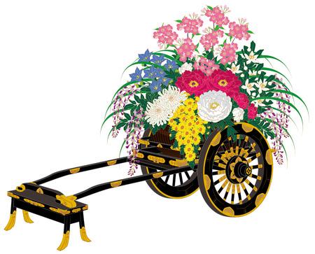 Japan Flower cars。Japan  Pattern of tradition  Kimono  photo