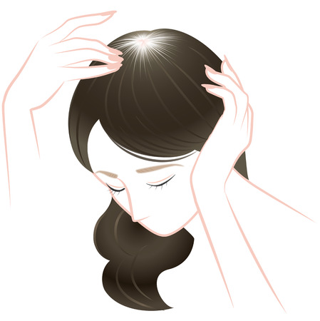 aging woman: Trouble of hair of middle-aged women