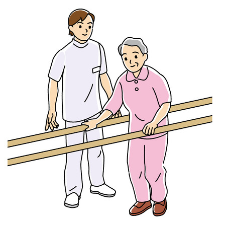 Physical therapist to carry out the rehabilitation of the elderly  photo