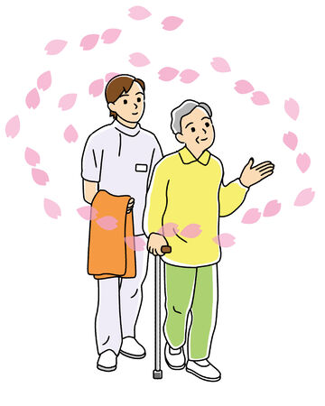 Caregiver attending for a walk in the elderly  photo