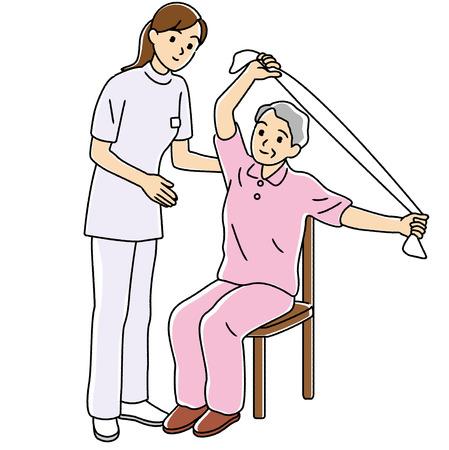 terapia ocupacional: Terapeuta físico para llevar a cabo la rehabilitación de las personas mayores Foto de archivo