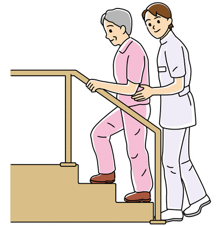carry out: Physical therapist to carry out the rehabilitation of the elderly  Stock Photo