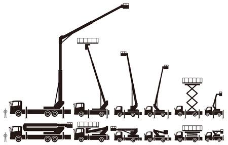 hydraulic platform: Coches para trabajar los veh�culos pesados ??de gran altitud Vectores
