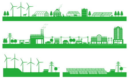 Living between city and countryside and playability energy Illustration